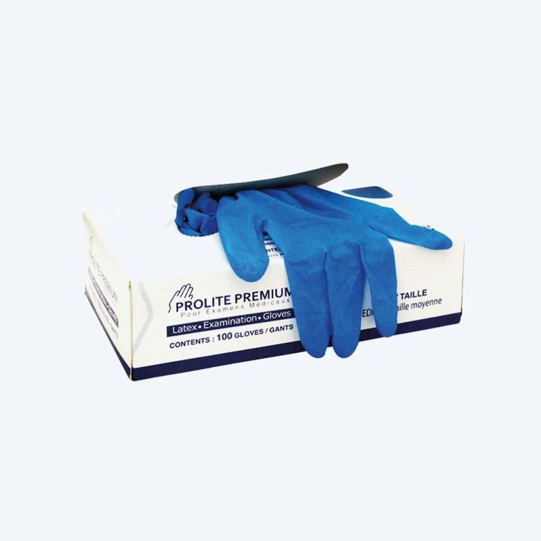 Gants latex bleus non poudrés